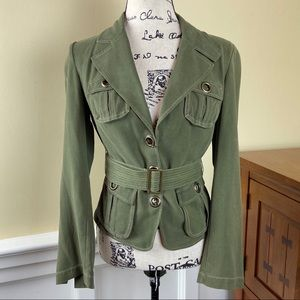 NWT Bebe Pockets Belt Nice Burnt Olive Jacket.